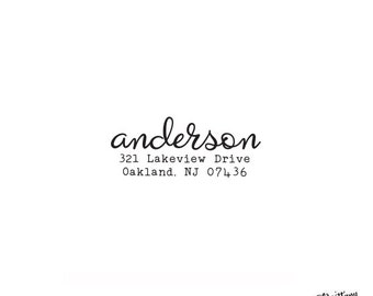 Self Inking or Wood Personalized Return Address Custom Rubber Stamp - Script Typewriter Font - Home Sweet Home