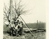 "Snapshot Photo ""Pole Setters"" Occupational Vintage Photo Antique Photo Black & White Photograph Found Photo Paper Ephemera Vernacular - 190"