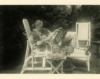 "Vintage Photo ""The Painting Grandma"" Snapshot Photo Old Antique Photo Black & White Photograph Found Photo Paper Ephemera Vernacular - 159"