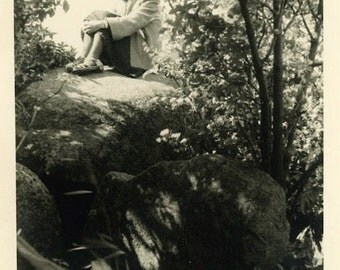 "Vintage Photo ""Nancy in Nature"" Girl Snapshot Photo Old Antique Photo Black & White Photograph Found Photo Paper Ephemera Vernacular - 154"
