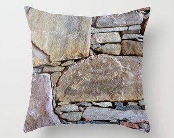 Stones Pillow Cover, Outdoor Pillow Case, Inlaid Rocks, Home Decor Pillow Cover, Natural Stone
