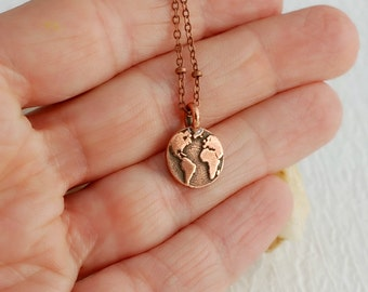 Rose Gold Copper Earth Charm Necklace,  small globe planet pendant travel simple everyday minimal tiny graduation birthday unisex gift