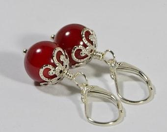 Red Coral Earrings Dangle Earrings Coral Earrings Sterling Silver Earrings Gift For Her