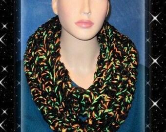 Halloween Scarf, Neon Green Crochet Infinity Scarf, Neon Orange Infinity Scarf, Green Crochet Infinity Scarf Black Infinity Scarf Neon Green