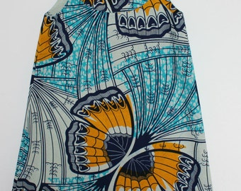 Blue and yellow African Flower Print  dress