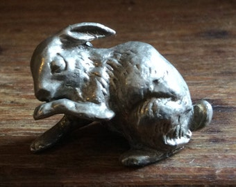 Vintage English miniature metal rabbit hare bunny metal decor ornament figurine circa 1950-60's / English Shop