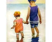 Girls at the Beach Greeting Card - Big and Little Sister - Repro Jessie Willcox Smith