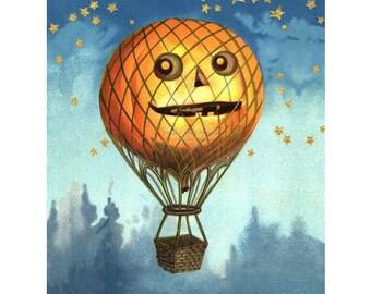 Halloween Card   Hot Air Balloon Pumpkins JOLs   Repro Ellen Clapsaddle Notecard