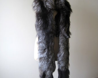 Vintage French Double Pelt Silver Fox Fur Stole or Wrap C1930 Proceeds to Charity
