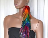 Rainbow Feather Earring, Long Feather Earring