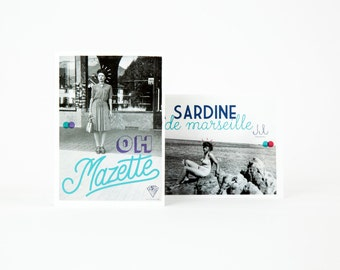 """Set of 2 postcards """"MARSEILLE"""" french expression"""