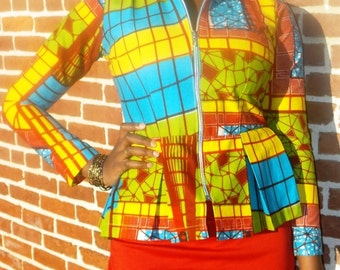 Peplum Jacket Mosaic Ankar Print with Front Zipper and Long Sleeves Tribal Print Jacket