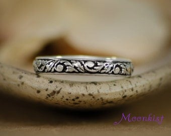 Sterling Silver Tendril and Vine Wedding Band - Narrow Floral Pattern Band - Silver Floral Ring - Promise Band - Anniversary Band