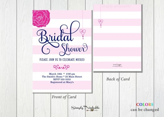 Pink Bridal Shower Invitation, Striped Bridal Shower Invite, Modern Bridal Shower Invitation Wedding Shower Invite