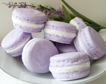 Food Soap gift set - Two Lavender Macarons - French Macaron Soap - French Macaroon - pastel lavender purple & lime green