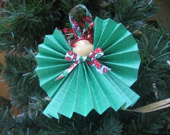 Christmas Green Angel, Angel Ornament, U-Pick Halo Color, Green Paper Ribbon Angel, Holiday Angel, Red Green Ornament, Xmas SnowNoseCrafts