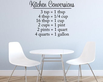 Kitchen Vinyl Wall Decal Conversion Chart Decal Vinyl Lettering Wall Words Kitchen Wall Decor Housewares