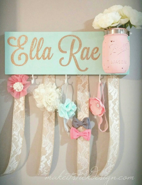 Headband bow holder custom name board baby girl mint painted for Baby name decoration ideas