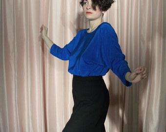 High Waisted Black Wool Pencil Skirt, 90's