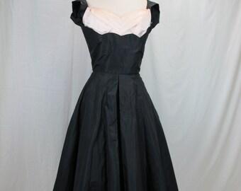 1950s Black Silk Cocktail Party Dress
