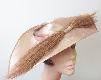 1940s Champagne Mohair and Feather Hat