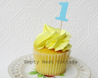 First Birthday Cupcake Toppers, Blue Number One Cupcake Topper, 12 Number Cupcake Toppers, Birthday Decor, Second Birthday Toppers, I am one