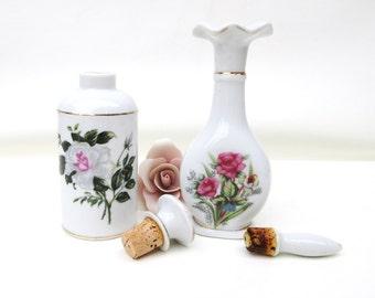 Vintage Vanity Bottles,  Perfume Bottles, Scent Bottles, Porcelain Rose Perfume Decanters - Lot of 2
