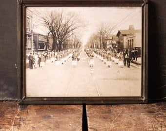 Antique Patriotic Framed Group Photograph of Ladies on Parade, Madison(?) Wisconsin
