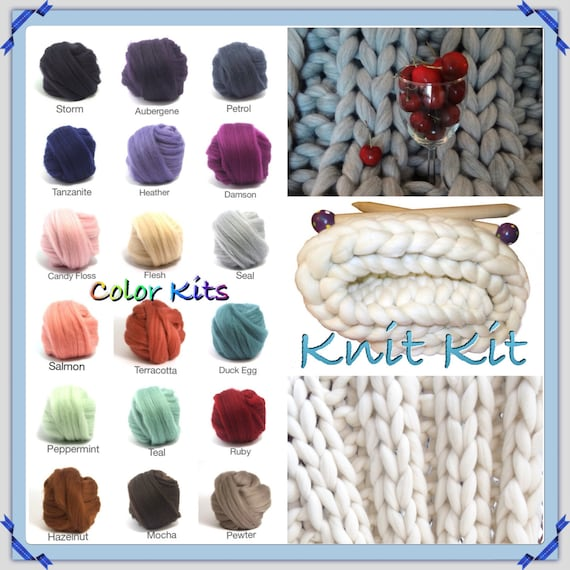 Giant Knitting Knit Kit, SUPER Chunky Blanket, Giant Needles, Choice of Projects