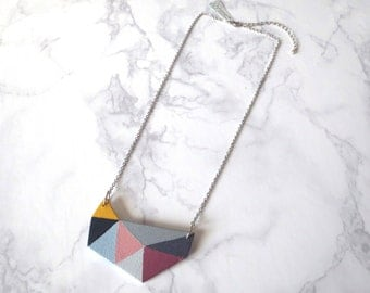 Stig - Geometric Bib Statement Necklace; Handmade Large-Scale Multicolor Triangle Pendant Necklace (Collier Géométrique) by InfinEight