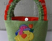 Little Girls Green & White Spotted Bag with Easter Chick Applique Design