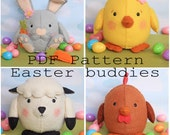 Easter buddies pdf pattern, egg, plushy, kawaii, sew your own, make your ien, diy, wool felt, rabbit, chicken, rooster, lamb, sewing pattern