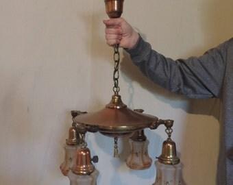 Items Similar To Massive Crackle Glass Globe Light Fixture Vintage 1970 Hug