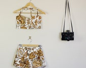 Paisley Print Tan , Brown and White Summer Twin Set Fitted Sweetheart Crop and High Waist Shorts 90s Festival Cute Lolita 60s 70s 80s
