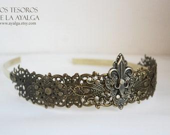 renaissance  fleur de lys tiara - medieval groom headpiece