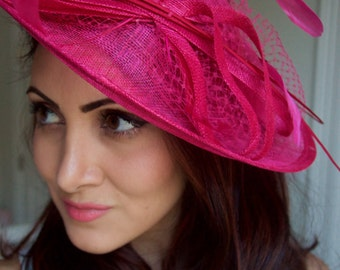 "Fuchsia Fascinator Hat - ""Wendy"" Wide Brimmed Fuchsia mesh Fascinator Hat Headband"