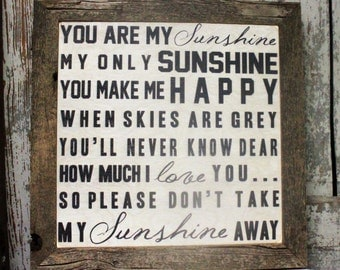 You Are My Sunshine Sign Wall Art on Wood, Wall Art, Home & Living, Sunshine, Barn Wood Framed Sign, You are my Sunshine