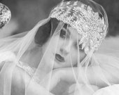 Gatsby Ivory Bridal Headpiece.  Lace with Sparkling Crystal and Pearl 1920s inspired ... FREE shipping worldwide