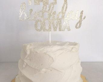 Custom Happy Birthday with Name Cake Topper //  Birthday Smash Cake Topper