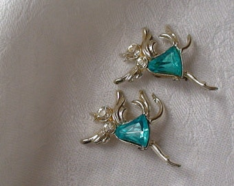 Twin Birds With an Attitude Scatter Pins, Aquamarine and Clear Crystal Chatons, Calling All Bird Lovers
