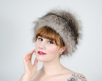 1950s vintage hat / silver fox fur hat / Irene of New York