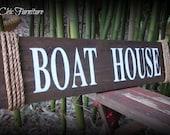Boat House Sign ~Wall Decor~Coastal Lake Nautical Home~Jute Rope~ CUSTOM COLORS