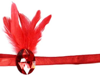 Flapper Headband Red Jewel Roaring 20's Gatsby Showgirl Feather Fascinator