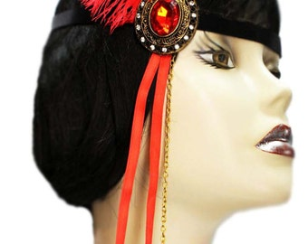 Flapper Headband Scarlet Jewel Roaring 20's Gatsby Feathered Fascinator Red