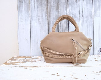 Beige Taupe Leather Top Handled Purse with Weave and Braided Straps.  Summer Leather Handbag - Made to Order