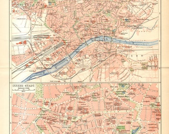 1903 Original Antique City Map of Frankfurt am Main