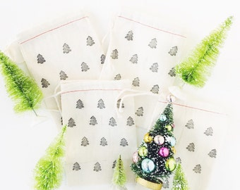 Hand Stamped Exclusive Inspire Lovely Design Bags  -  Christmas trees XO bags perfect for gifting