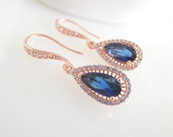 Sapphire Earrings,Teardrop Earrings,Blue Bridal Earrings,Bridal Earrings,Bridal Jewelry,Bridesmaids Earrings,Rose Gold Bridal Jewelry