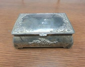 VINTAGE 1950s Silverplated Jewelry Box Art Nouveau Floral Pattern Trinket Keepsake Black Liner Solid Christmas Mothers Day Gift Garden Retro