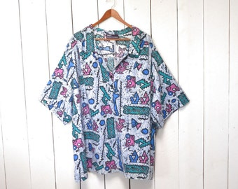 Geometric Print Shirt 1980s Vintage Baby Blue Mens Button Up Short Sleeve Shirt Big and Tall Size 6XL